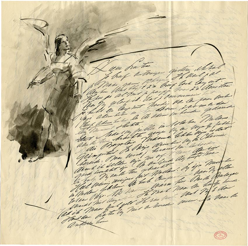 VanElsen-94-Théodore VAN ELSEN-Lettre de Peintre Oeuvre  -arts-fr-odeon-moderne-raux