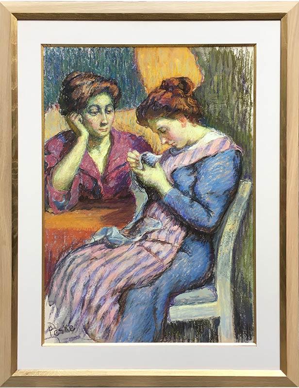 Jean Peské deux femmes dans un intérieur
