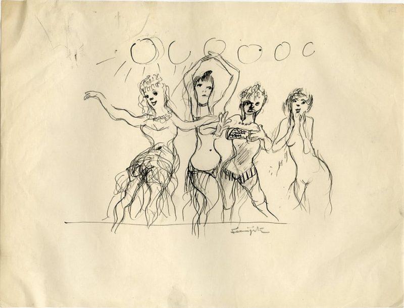 Foujita-Striptease-800x610-Léonard FOUJITA-Oeuvre  -arts-fr-odeon-moderne-raux