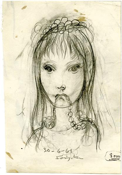 Foujita-jeune fille mordillant son collier