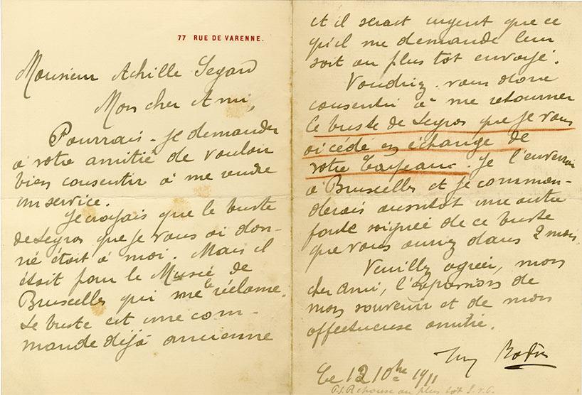 Rodin lettre