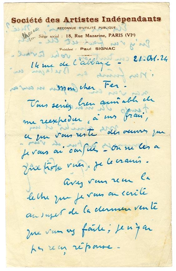 signac-30756-Paul SIGNAC-Lettre de Peintre  -arts-fr-odeon-moderne-raux